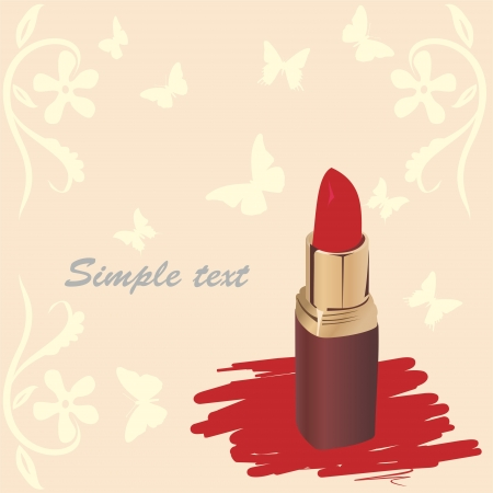 maquillage: red lipstick on a background of butterflies