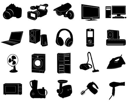 black appliances: Icone nere di elettrodomestici Vettoriali