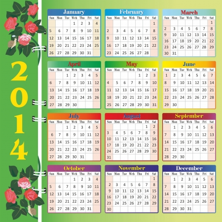 calendar 2014 with roses Stock Vector - 18995297