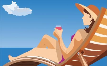 girl resting on the beach Stock Vector - 18995289