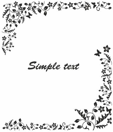 sophistication: marco blanco y negro simple con las flores y las mariposas