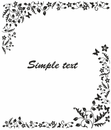 simple black and white frame with flowers and butterflies