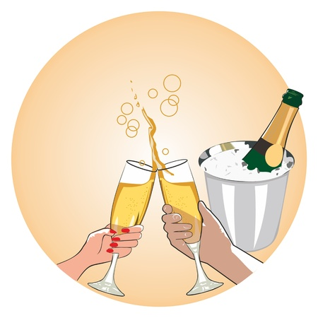 man and woman drinking champagne Stock Vector - 19025710