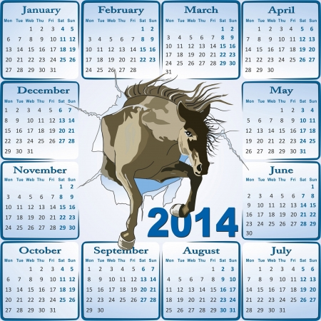 calendar 2014 with Jumping Horse Vector