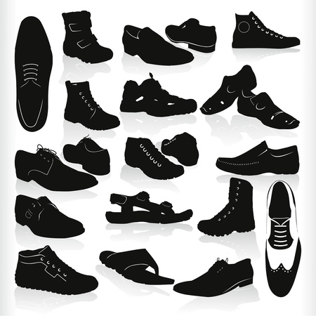 sports shoe: mens modern black shoes vector Illustration
