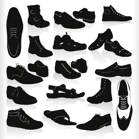 chaussure sport: mens moderne noir chaussures vecteur