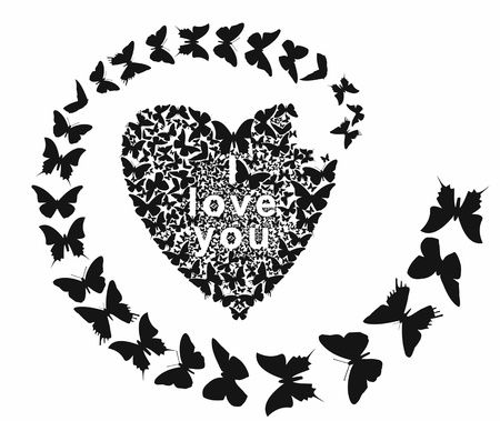 butterfly folded heart and I love you