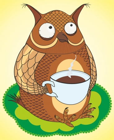 owl illustration: funny owl coffee drinks