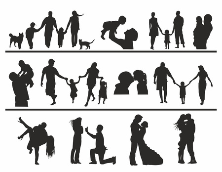contours of people in different situations Vector