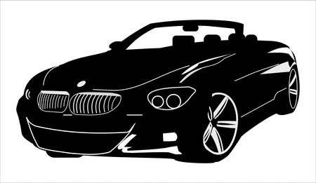convertible car: vector negro descapotable