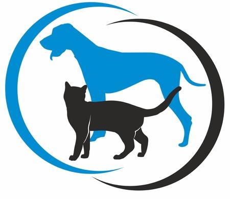 veterinarian symbol: cane e gatto