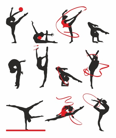 gymnastics: silueta de gimnastas