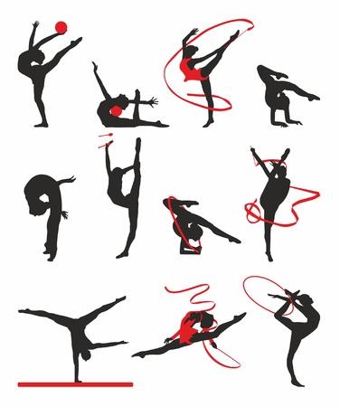 gymnastik: siluett av gymnaster