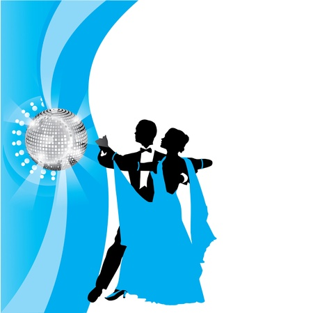 ballroom dancing: blue background with dancing couple Illustration