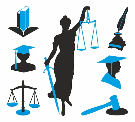 black and blue icons for lawyers Ilustracja