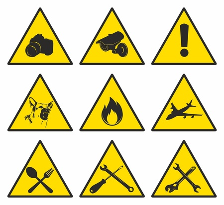 yellow triangular signs Vector