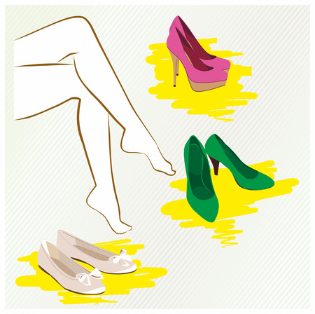 downtime: woman chooses shoes Illustration