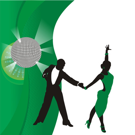 green background with dancing couple photo
