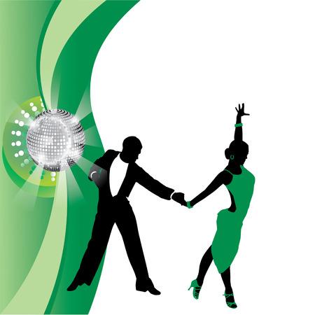 couple dancing: vector de fondo verde con pareja de baile