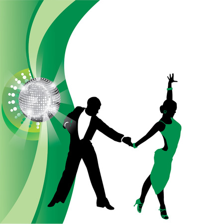 couple dancing: vector green background with dancing couple