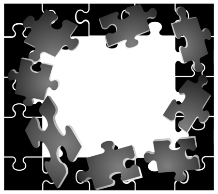 recess: black frame with puzzles Illustration