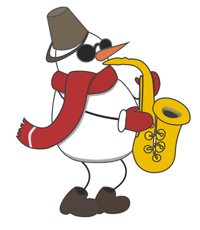 snow drift: cheerful snowman plays music on saxophone