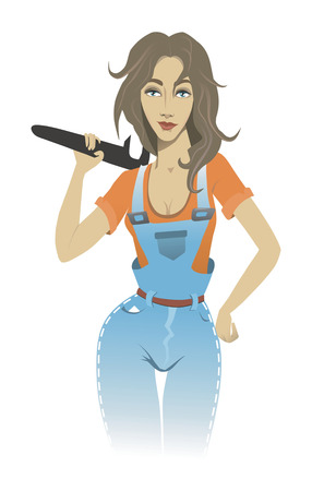 Girl with a wrench Vector