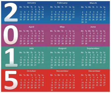 cronologia: calendario 2015 de color Vectores