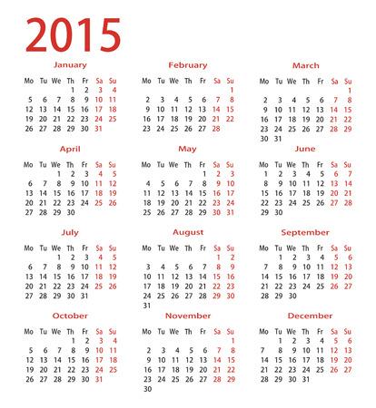 simple calendar 2015 Vectores