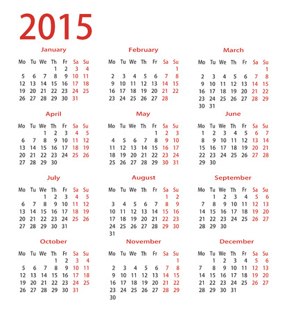 chronology: simple calendar 2015 Illustration