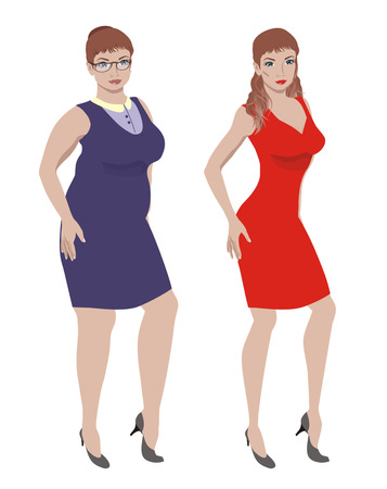 cellulite: full young woman and a young slim woman