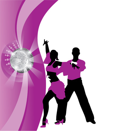 square dancing: vector purple background with dancing couple