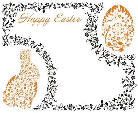 sophistication: Marco de Pascua con el conejito Vectores
