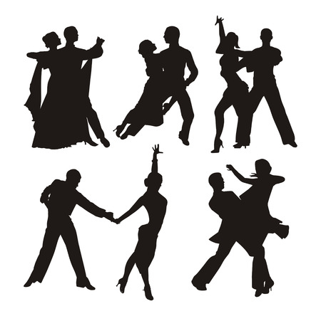 ballroom dancing: black silhouette of couple dancing