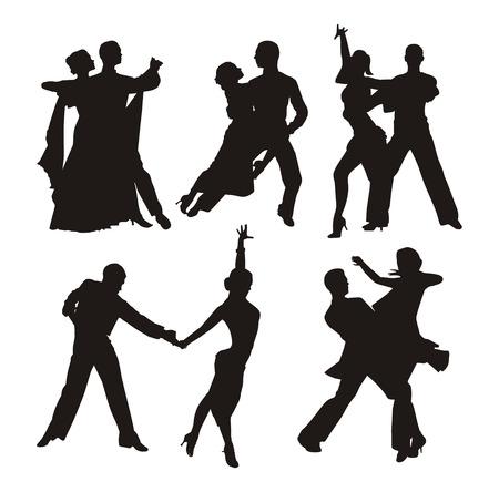 Sagoma nera di coppia che balla Archivio Fotografico - 25331388