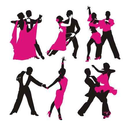 bailando salsa: silueta de pareja bailando Vectores