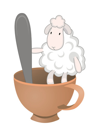 funny sheep in the cup Vector