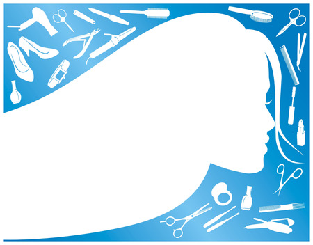 blue frame with contour girls and womens tricks Vector