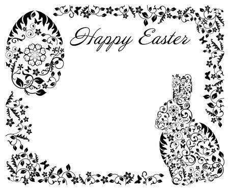 sophistication: sencillo marco negro con el conejito de Pascua Vectores