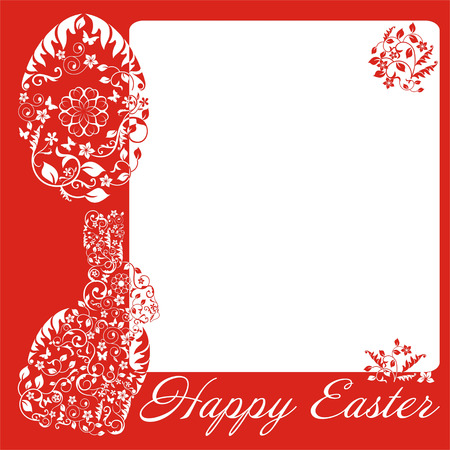 official record: simple red frame with Easter bunny Illustration