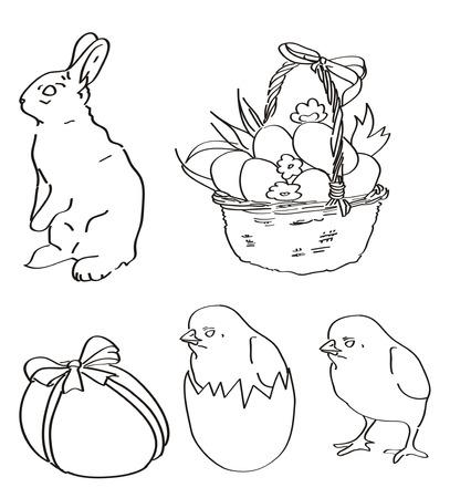vector outline Easter set Çizim