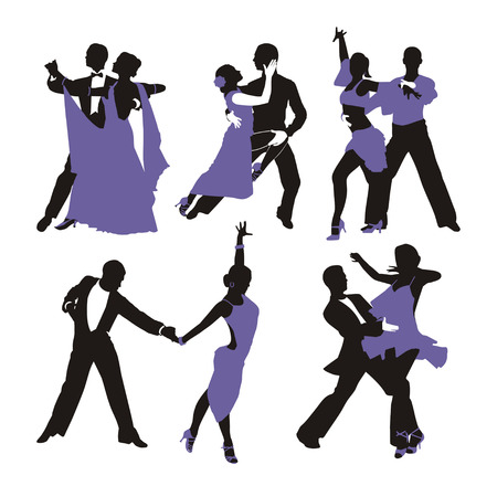 square dancing: vector lilac background with dancing couple