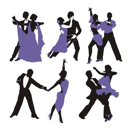 Vektor-lila Hintergrund mit tanzenden Paar Standard-Bild - 25705209