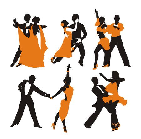 pareja bailando: fondo naranja vector con la pareja de baile