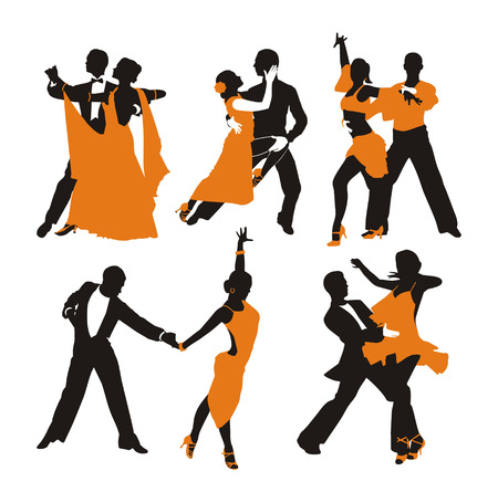 dancing couple: vector orange background with dancing couple