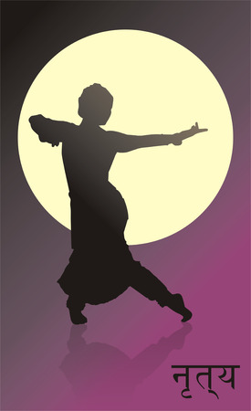kathak: vector outline of a dancing girl