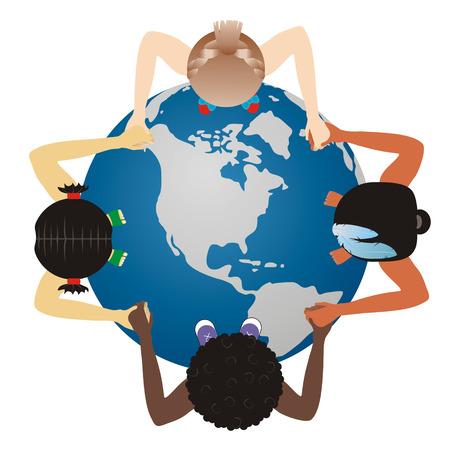world globe on children