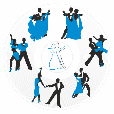 couples dancing on  a circular plate Vector