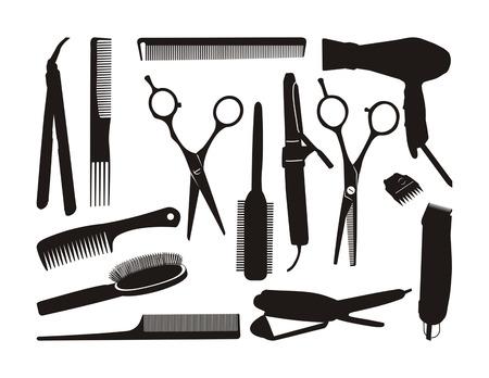 hairstyling: herramientas de peluquer�a contorno negro