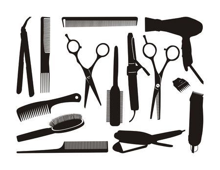 black contour hairstyling tools Illustration